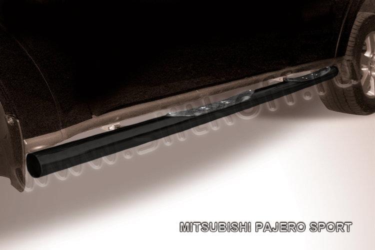 Защита порогов d76 с проступями черная Mitsubishi Pajero Sport (до 2010)