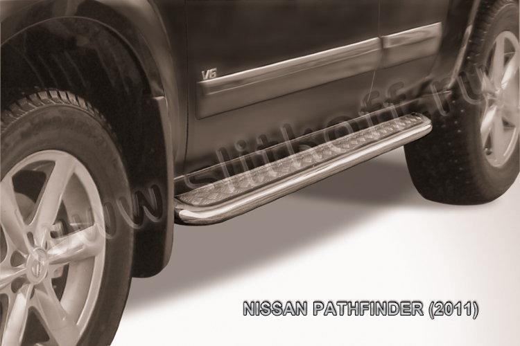 Защита порогов d57 с листом Nissan Pathfinder (2011)