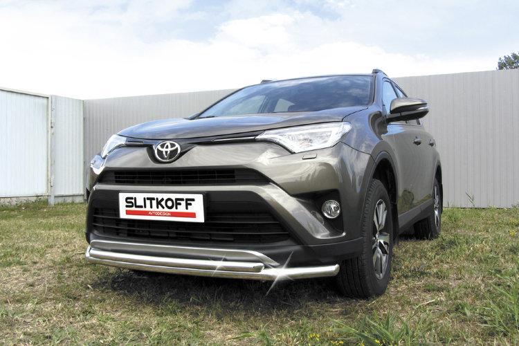 Защита переднего бампера d57+d42 двойная  Toyota RAV4 (2015)