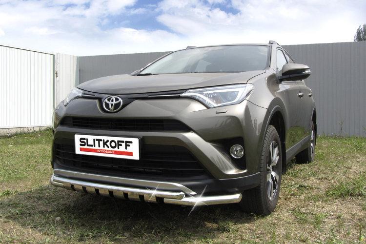 Защита переднего бампера d57+d42 двойная с декоративными элементами Toyota RAV4 (2015)