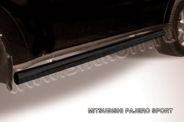 Защита порогов d76 труба черная Mitsubishi Pajero Sport (до 2010)