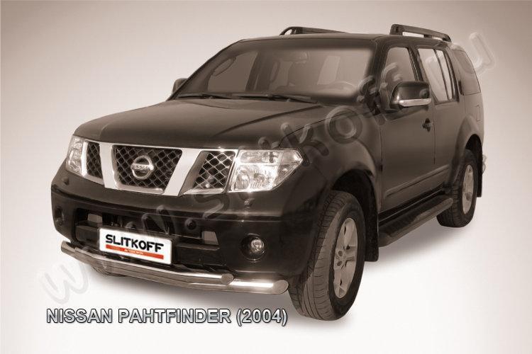 Защита переднего бампера d76+d57 двойная Nissan Pathfinder R51