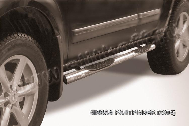 Защита порогов d76 с проступями Nissan Pathfinder R51