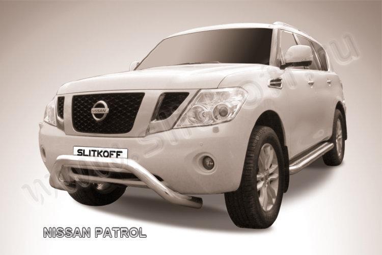 Защита переднего бампера d76 с профильной защитой картера Nissan Patrol