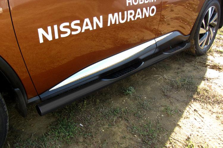 Защита порогов d76 с проступями черная Nissan Murano (2016)