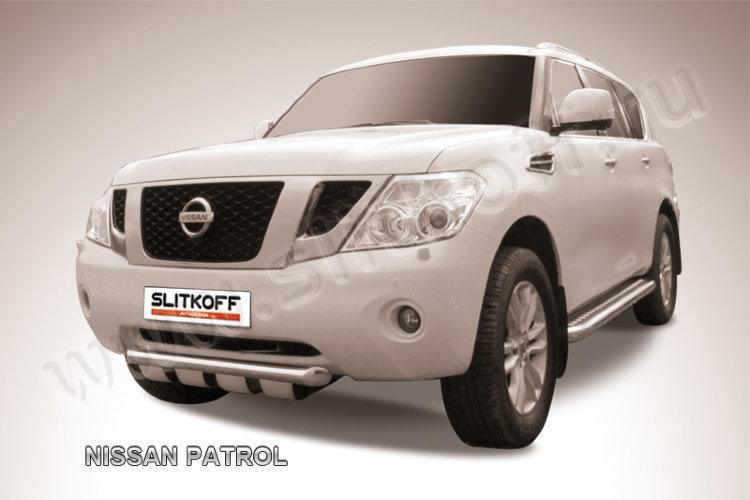 Защита переднего бампера d76+d57 двойная Nissan Patrol