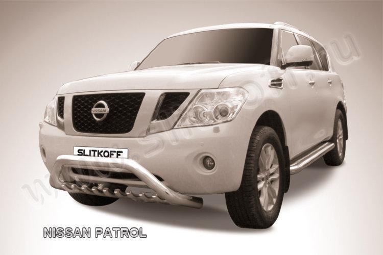 """Кенгурятник d76 низкий широкий """"мини"""" Nissan Patrol"""