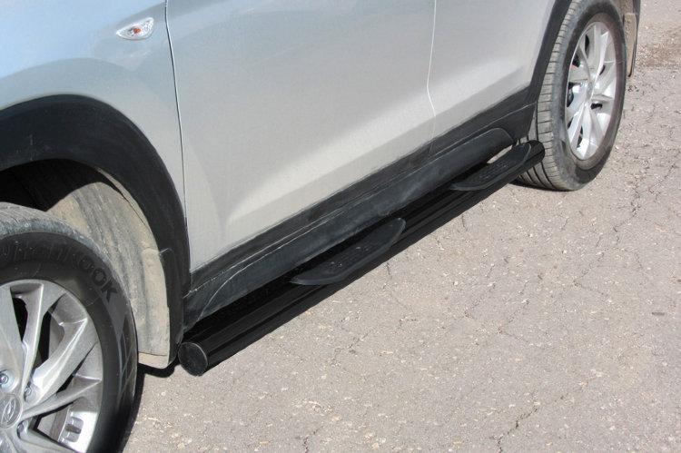 Защита порогов d76 с проступями черная Hyundai Tucson (2018) Turbo
