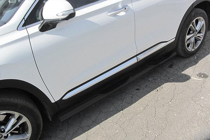 Защита порогов d76 с проступями черная Hyundai SANTA-FE (2018)