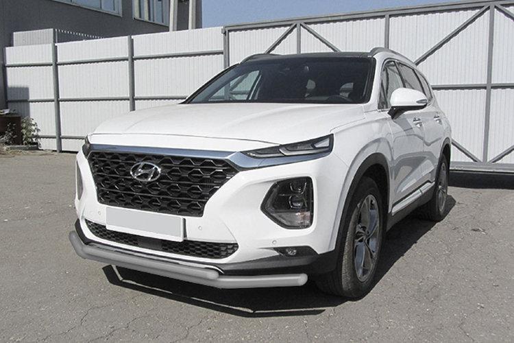 Защита переднего бампера d57+d42 двойная серебристая Hyundai SANTA-FE (2018)
