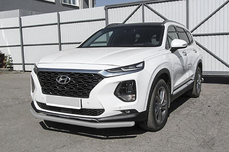 Защита переднего бампера d57 серебристая Hyundai SANTA-FE (2018)