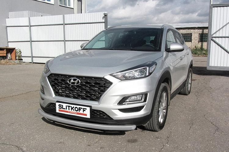 Защита переднего бампера d57 серебристая Hyundai Tucson (2018)