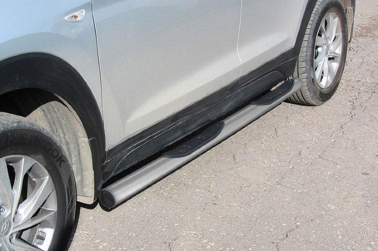 Защита порогов d76 с проступями серебристая Hyundai Tucson (2018)