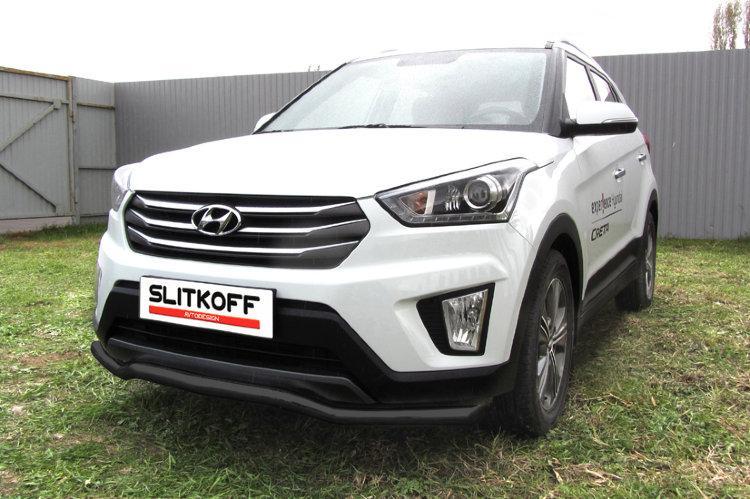 """Защита переднего бампера d57 """"волна"""" черная Hyundai CRETA 4WD 2016"""