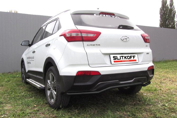 """Защита заднего бампера d42 """"скоба"""" черная Hyundai CRETA 4WD 2016"""