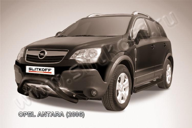 """Кенгурятник d76 низкий """"мини"""" черный Opel Antara"""