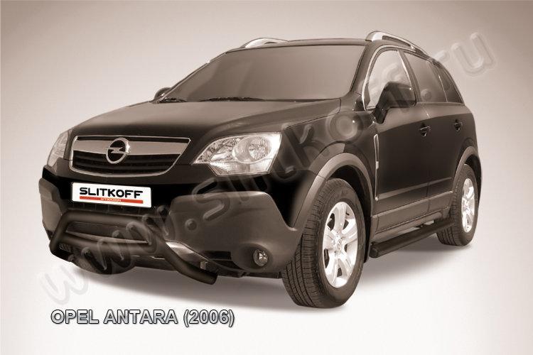 Кенгурятник d57 низкий черный Opel Antara