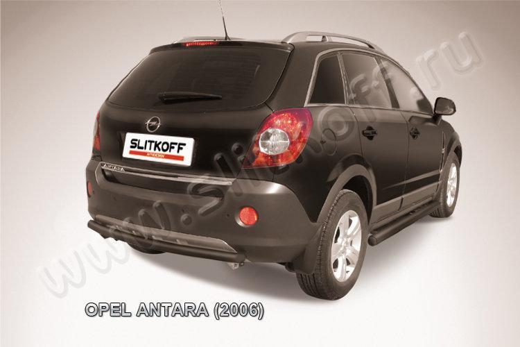 Защита заднего бампера d57 черная Opel Antara