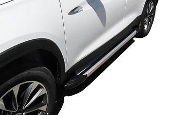 """Пороги алюминиевые """"Luxe Silver"""" 1700 серебристые Chery Tiggo7"""