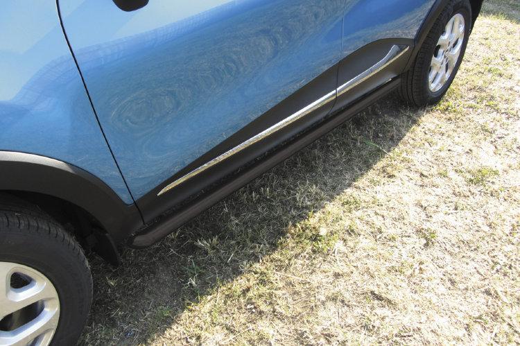 Защита порогов d57 труба черная Renault Kaptur 4WD 2016