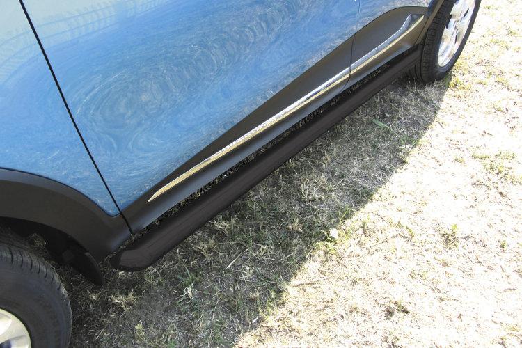 Защита порогов d76 труба черная Renault Kaptur 2016