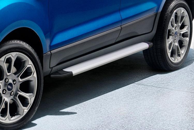 Пороги алюминиевые Optima Silver 1600 серебристые на Ford EcoSport (2017)