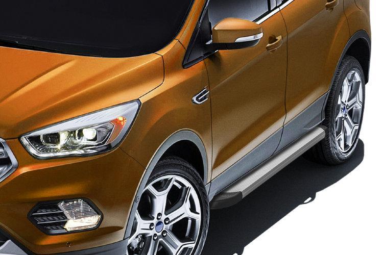 """Пороги алюминиевые """"Optima Silver"""" 1800 серебристые Ford Kuga (2016)"""