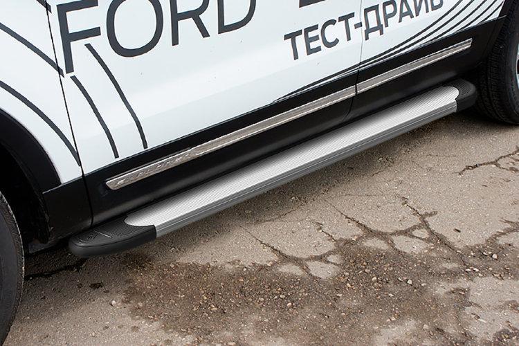 """Пороги алюминиевые """"Optima Silver"""" 1800 серебристые Ford Explorer (2015)"""