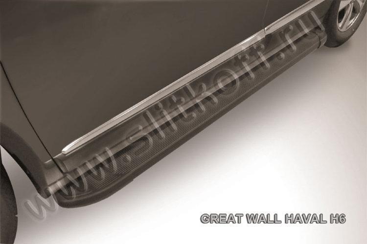 """Пороги алюминиевые """"Optima Black"""" 1800 черные Haval H6"""