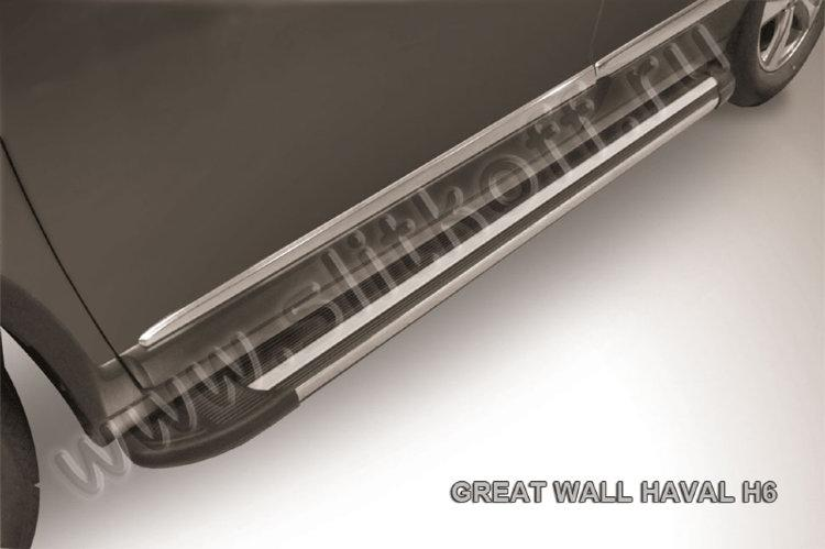 """Пороги алюминиевые """"Luxe Black"""" 1800 черные Haval H6"""