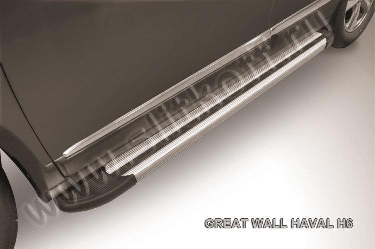 """Пороги алюминиевые """"Luxe Silver"""" 1800 серебристые Haval H6"""