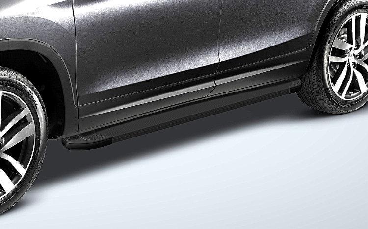 Пороги алюминиевые «Optima Black» 1800 черные на Honda Pilot 2016