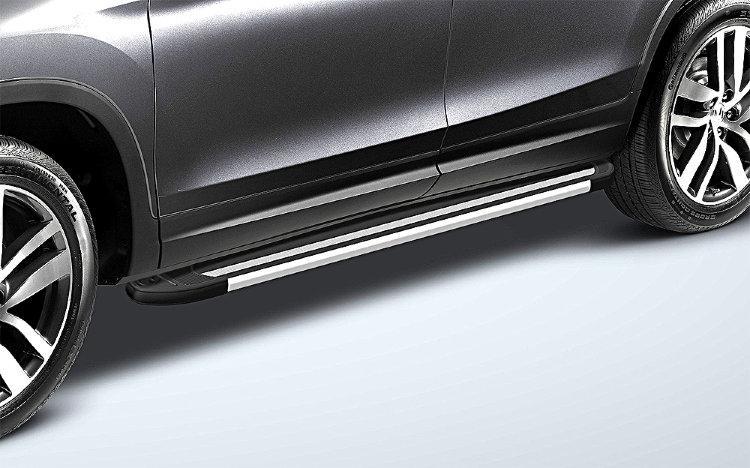 Пороги алюминиевые «Luxe Black» 1800 черные на Honda Pilot 2016