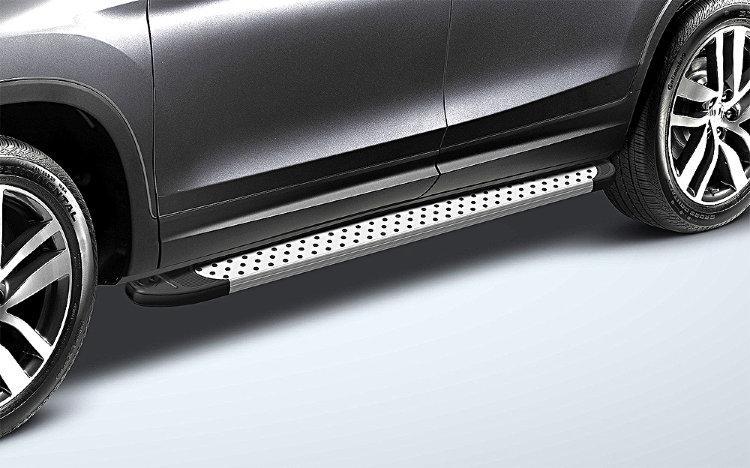 Пороги алюминиевые «Standart Silver» 1800 серебристые на Honda Pilot 2016