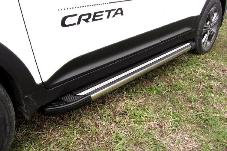 Пороги алюминиевые Luxe Black 1700 черные Hyundai CRETA 4WD 2016