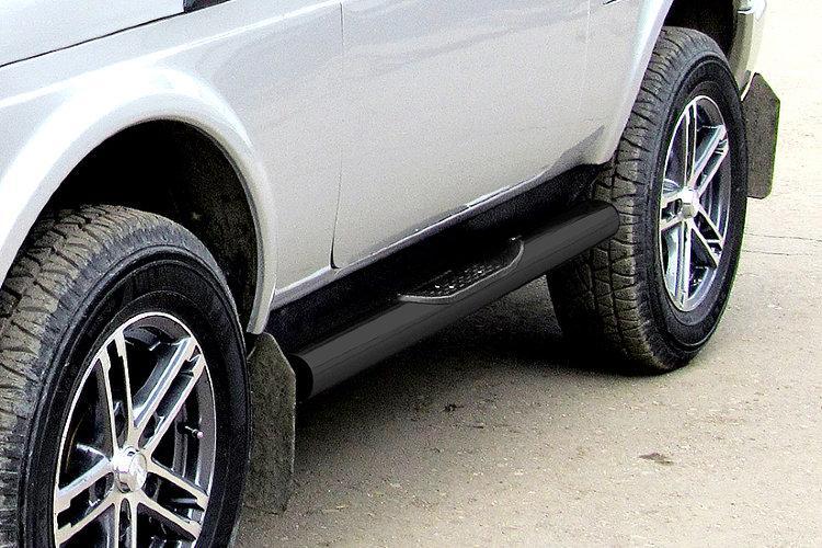 Защита порогов d76 с проступями черная Lada Niva 4X4 Urban 3d
