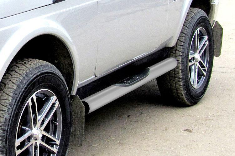 Защита порогов d76 с проступями серебристая Lada Niva 4X4 Urban 3d