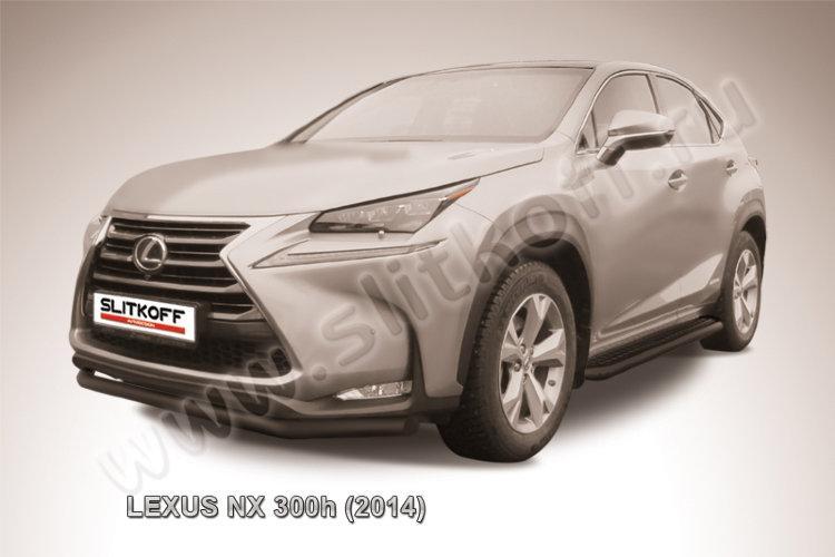 Защита переднего бампера d57 черная Lexus NX 300h