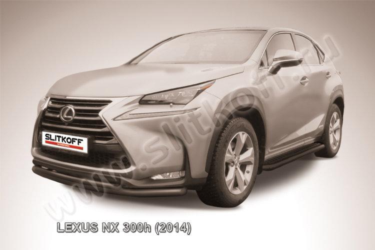 Защита переднего бампера d57+d42 двойная радиусная черная Lexus NX 300h