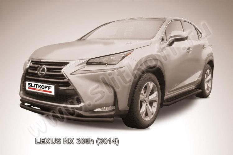 Защита переднего бампера d57 радиусная черная Lexus NX 300h