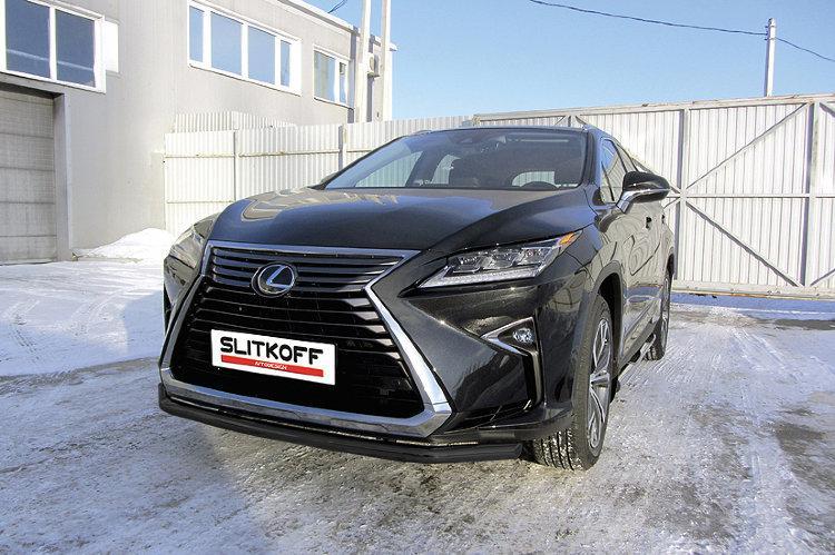 Защита переднего бампера d57 черная Lexus RX-350 (2015)