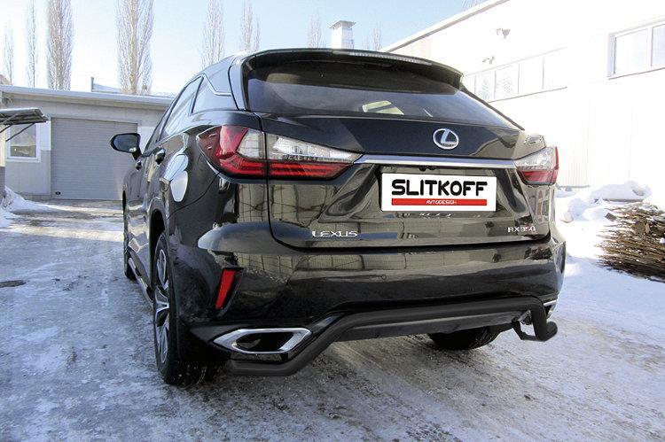 """Защита заднего бампера d57 """"волна"""" черная Lexus RX-350 (2015)"""