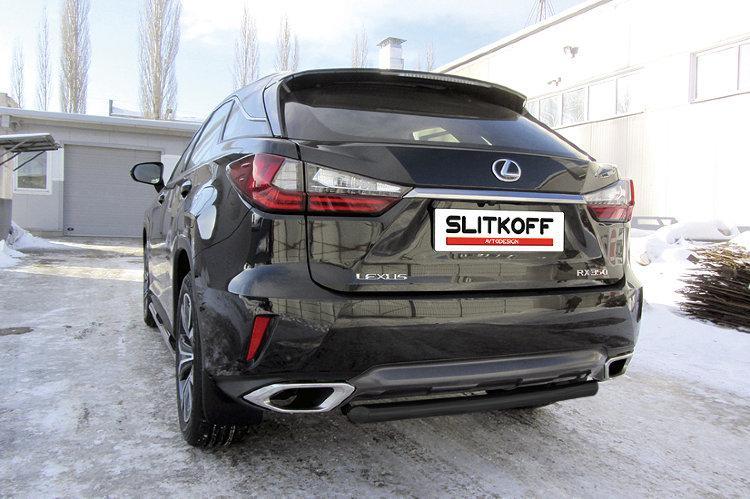 Защита заднего бампера d57 короткая черная Lexus RX-350 (2015)