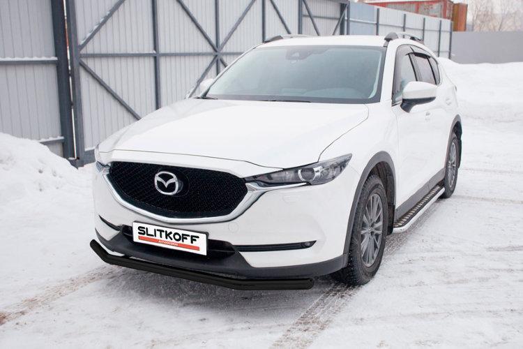 Защита переднего бампера d57 черная Mazda CX-5 (2017)