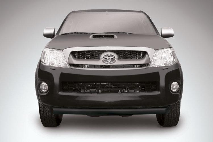 Защита переднего бампера d76 радиусная черная Toyota Hilux (2011) рестайлинг