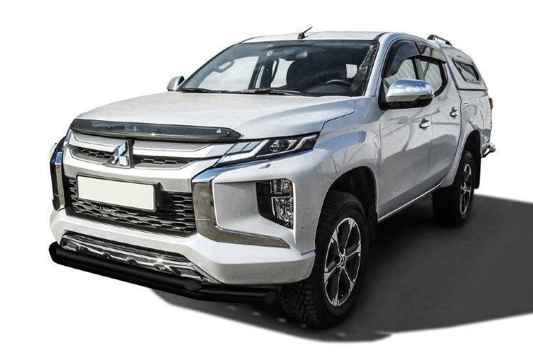 Защита переднего бампера d76+d57 двойная черная Mitsubishi L-200 (2018)
