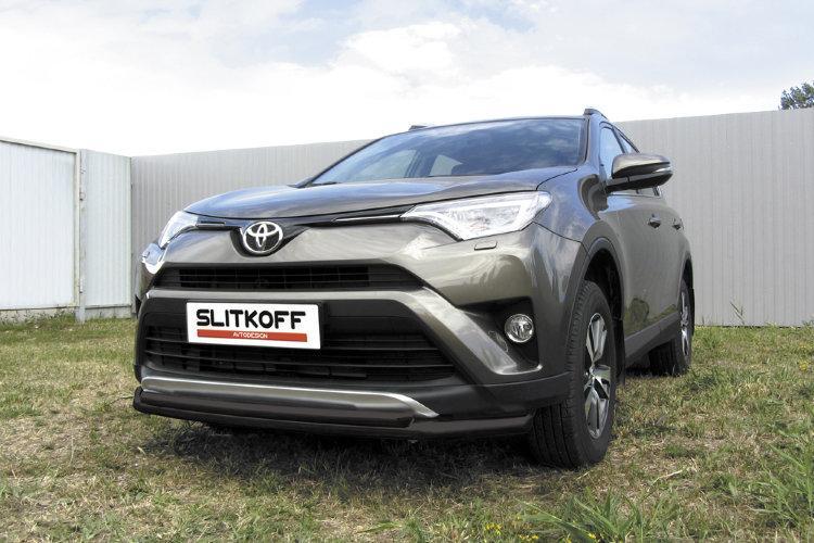 Защита переднего бампера d57+d42 двойная черная Toyota RAV4 (2015)