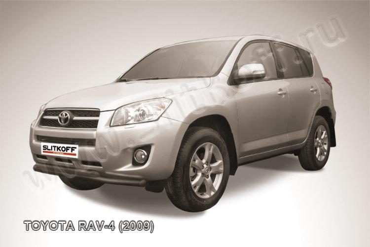 Защита переднего бампера d57+d57 двойная черная Toyota RAV4 (2009)