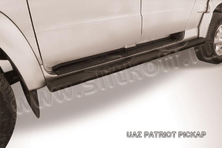 Защита порогов d76 с проступями черная UAZ Pickup (2007)