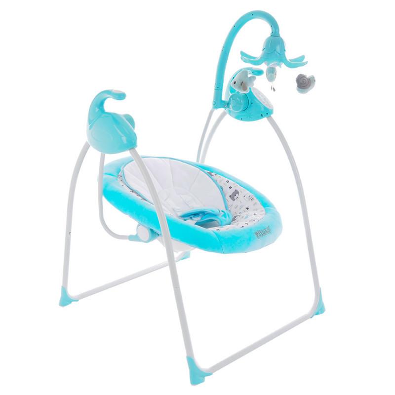 Детские электрокачели PITUSO CARINO GREEN/Бирюза МИШКИ (адаптер, пульт) 75х67х98,5см 1шт.в коробке